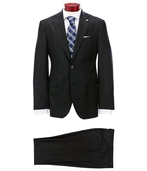 ダニエル クレミュ メンズ ジャケット・ブルゾン アウター Modern Fit Flat Front Solid Black Wool Suit Black