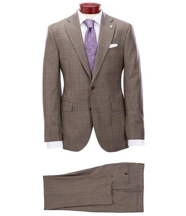 ダニエル クレミュ メンズ ジャケット・ブルゾン アウター Modern Fit Flat Front Plaid Tan Wool Suit TanmIYb6gyvf7