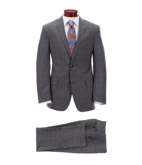 ムラノ メンズ ジャケット・ブルゾン アウター Slim Fit Grey Plaid Wool Suit Grey