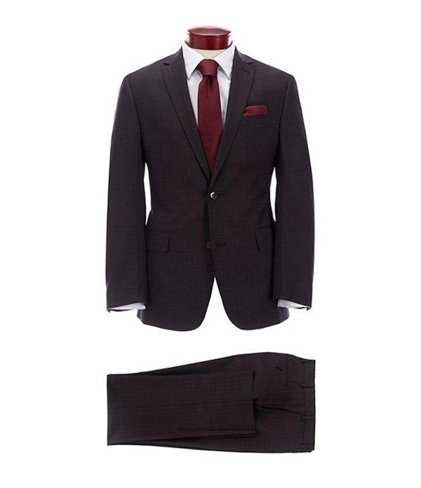 ムラノ メンズ ジャケット・ブルゾン アウター Slim Fit Burgundy Fancy Wool Suit Burgundy