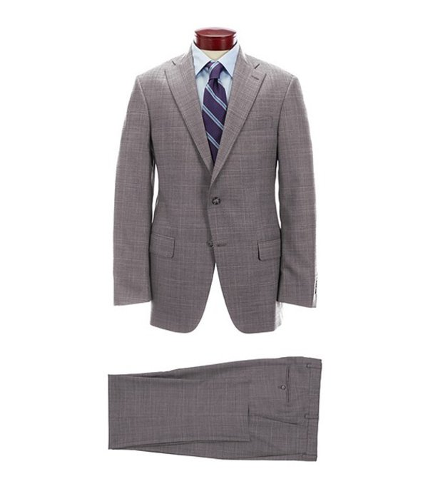 ハート シャフナー マルクス メンズ ジャケット・ブルゾン アウター Classic Fit Grey Fine Plaid Wool Blend Suit Grey