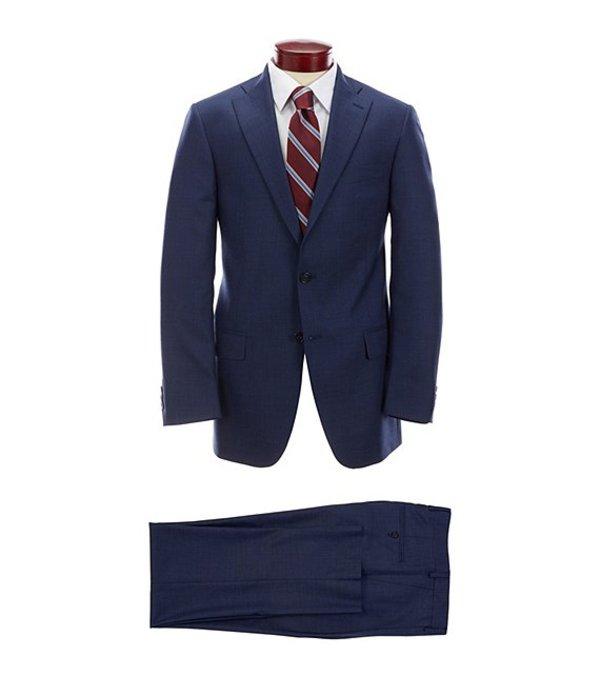 ハート シャフナー マルクス メンズ ジャケット・ブルゾン アウター Classic Fit Pleated Solid Blue Wool Suit Blue