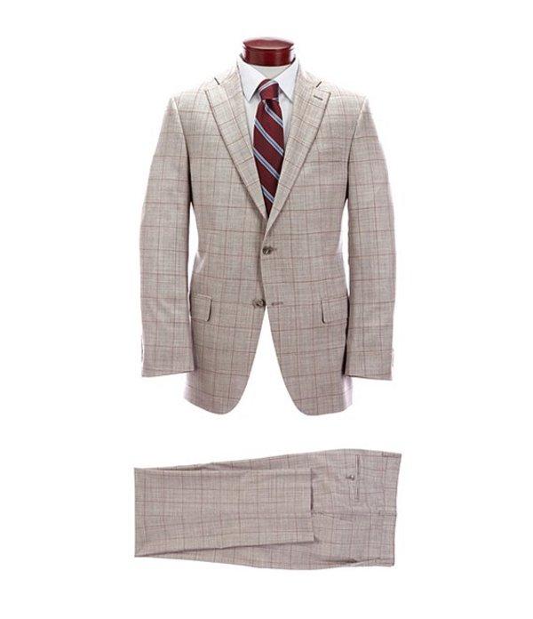 ハート シャフナー マルクス メンズ ジャケット・ブルゾン アウター Classic Fit Light Grey Windowpane Pleated Wool Blend Suit Grey