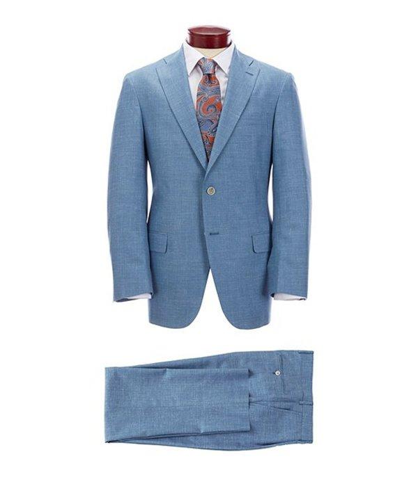 ハート シャフナー マルクス メンズ ジャケット・ブルゾン アウター Classic Fit Pleated Solid Blue Suit Blue