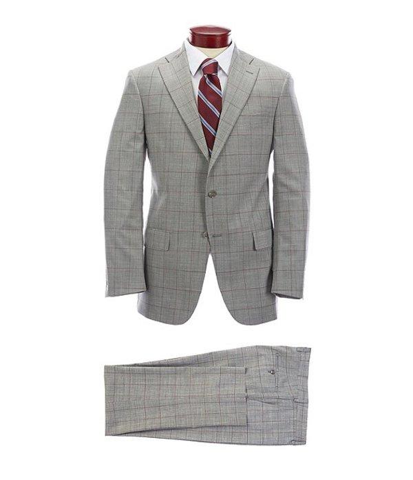 ハート シャフナー マルクス メンズ ジャケット・ブルゾン アウター Classic Fit Light Grey Windowpane Flat Front Wool Blend Suit GreyOPkw0n