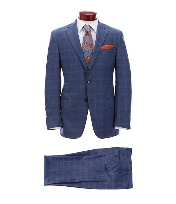ハート シャフナー マルクス メンズ ジャケット・ブルゾン アウター Modern Fit Blue Plaid Wool Suit Blue