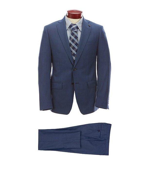 サイコバニー メンズ ジャケット・ブルゾン アウター Slim Fit Fancy Medium Blue Wool Suit Blue