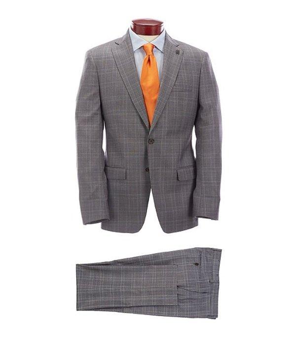 サイコバニー メンズ ジャケット・ブルゾン アウター Slim Fit Burgundy Plaid Wool Suit Burgundy