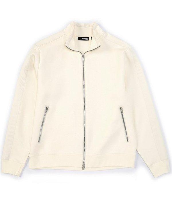 ムラノ メンズ ジャケット・ブルゾン アウター Slim-Fit Mixed Media Full-Zip Track Jacket Natural