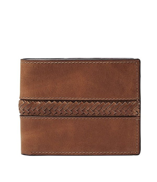 フォッシル メンズ 財布 アクセサリー Francis Leather Bifold Wallet with Flip ID Cognac