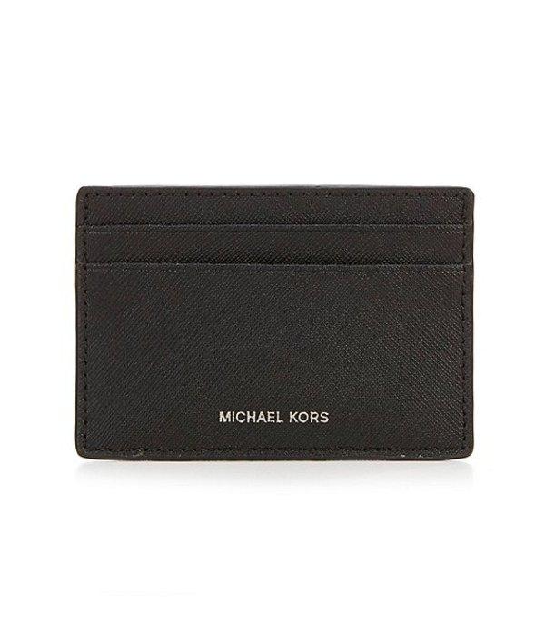 マイケルコース メンズ 財布 アクセサリー Mason Cross Grain Leather Card Case Black
