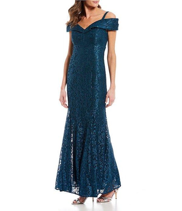 アールアンドエムリチャーズ レディース ワンピース トップス Off-the-Shoulder Sweetheart Neck Lace Gown Peacock