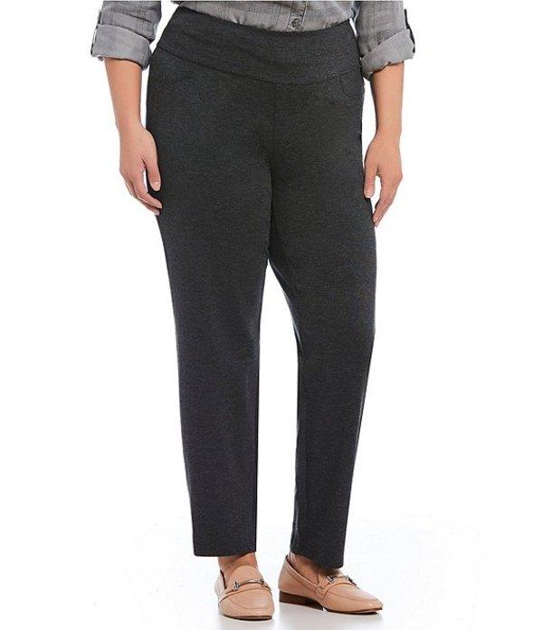 イントロ レディース カジュアルパンツ ボトムス Plus Size Solid Double Knit Tummy Control Heathered Straight Leg Pants Charcoal Heather