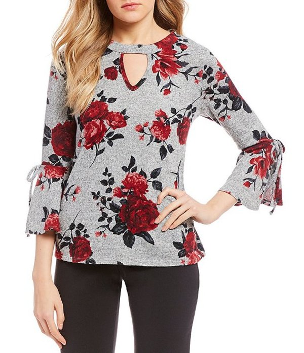 I.N.サンフランシスコ レディース シャツ トップス Rose-Printed Fuzzy-Sweater-Knit Top Red Roses