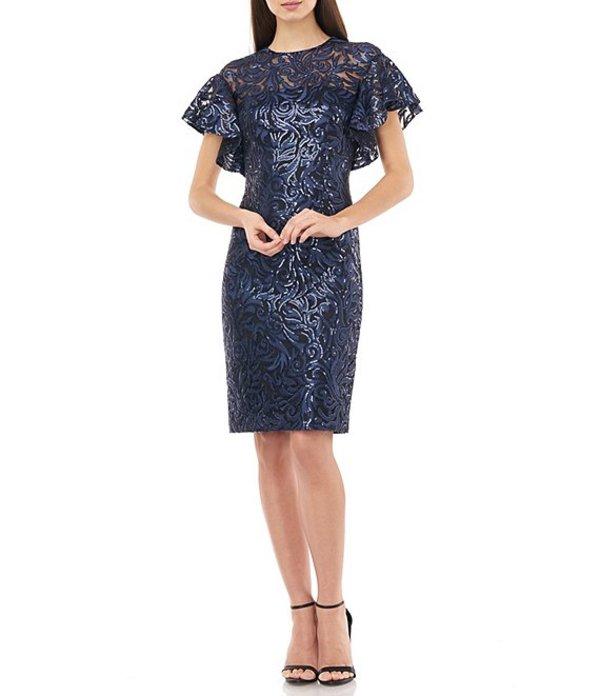 カルメンマークヴァルヴォ レディース ワンピース トップス Embroidered Sequin Jewel Neck Short Flutter Sleeve Dress Navy