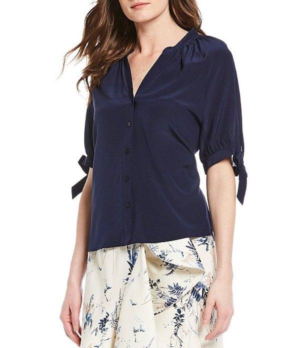 アントニオ メラーニ レディース シャツ トップス Vivian Tie Elbow Sleeve Button Front Silk Top Navy