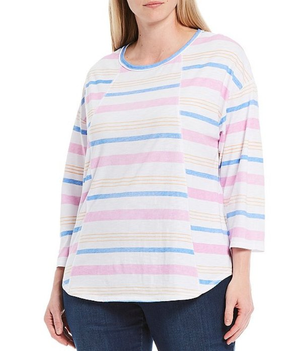 ウエストバウンド レディース Tシャツ トップス Plus Size 3/4 Sleeve Seam Striped Cotton Blend Tee Umbrella Stripe