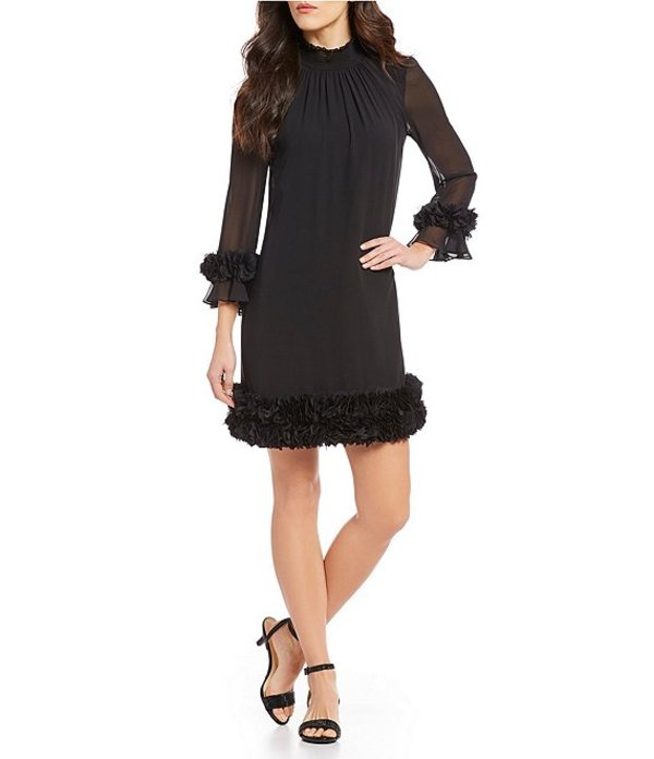 アレックスマリー レディース ワンピース トップス Amelia Mock Smocked Neck Floral Petal Detail Illusion Sleeve Chiffon Dress Black