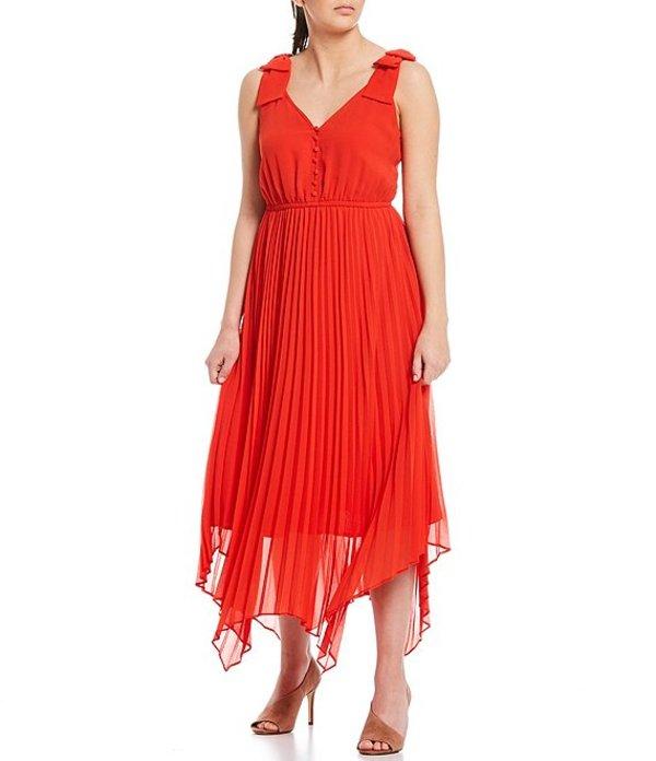 ギブソンアンドラティマー レディース ワンピース トップス Georgette Bowtie Strap Pleated Handkerchief Hem Maxi Dress Crimson