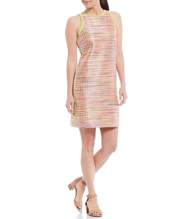 アレックスマリー レディース ワンピース トップス Ryan Corded Jacquard Contrast Trim Shift Dress Hot Pink/Lime