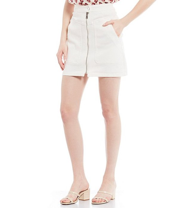 エーラブズエー レディース スカート ボトムス Denim Utility Pocket Zip Front Detail Mini Skirt Paper White