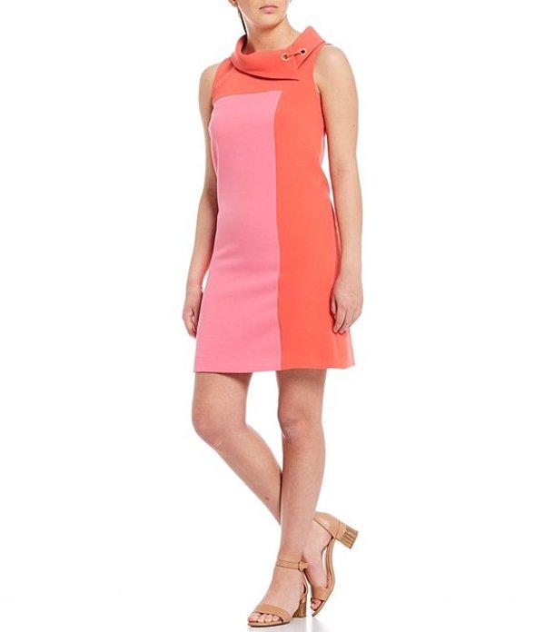 アレックスマリー レディース ワンピース トップス Rachel Color Block Envelope Collar Stretch Dobby Twill Crepe Dress Orange/Pink