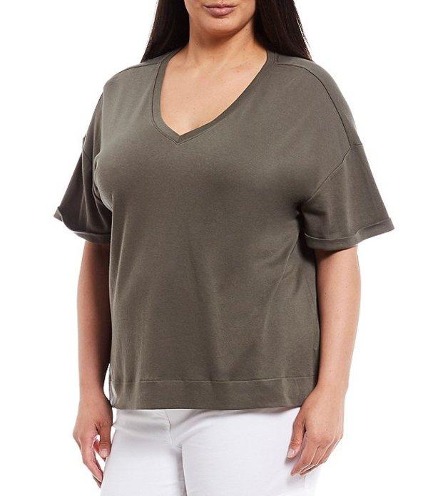 ウエストバウンド レディース Tシャツ トップス Plus Size Short Sleeve V-Neck Tee Olive