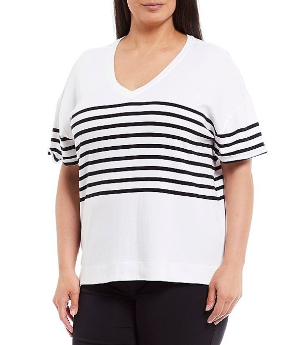 ウエストバウンド レディース Tシャツ トップス Plus Size Placed Stripe Short Sleeve V-Neck Cotton Blend Tee Black Fresh Stripe