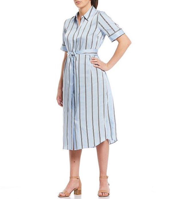 アレックスマリー レディース ワンピース トップス Ava Tie Waist A-Line Stripe Twill Machine Washable Midi Shirt Dress Pale Blue/Ivory