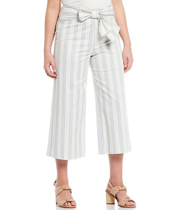 アレックスマリー レディース カジュアルパンツ ボトムス Chelsea Tie Front Striped Twill High Waist Cotton Blend Machine Washable Crop Pant Ivory/Pale Blue