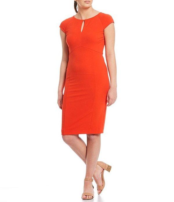 アレックスマリー レディース ワンピース トップス Tara Keyhole Scuba Crepe Machine Washable Dress Tomato