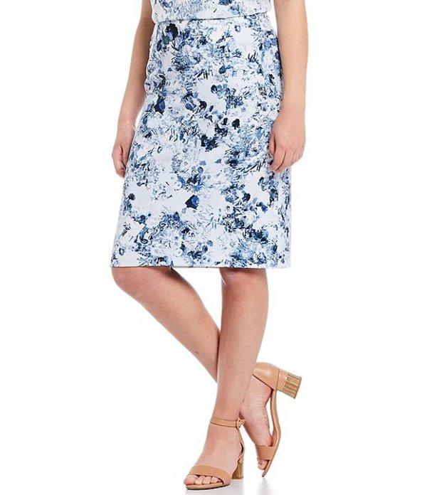 アレックスマリー レディース スカート ボトムス Dana Luxe Twill Floral Printed Machine Washable Skirt Ivory/Cobalt