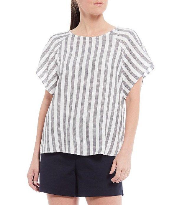 ギブソンアンドラティマー レディース シャツ トップス Stripe Woven Flutter Sleeve Top Grey/White