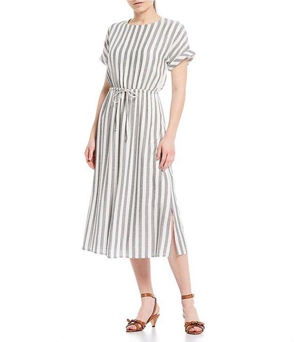 ギブソンアンドラティマー レディース ワンピース トップス Short Sleeve Stripe A-line Tie Waist Dress Grey/White