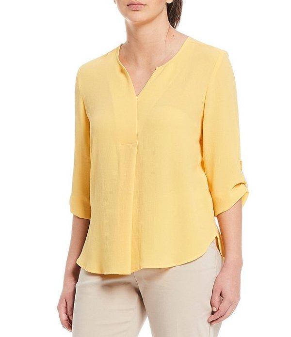 インベストメンツ レディース シャツ トップス 3/4 Roll-Tab Sleeve V-Neck Top Golden Yellow
