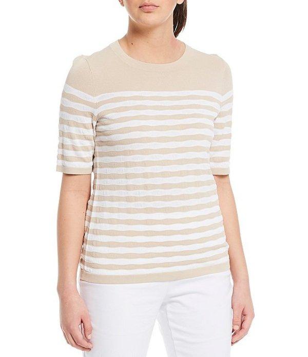 インベストメンツ レディース Tシャツ トップス Petite Size Signature Yarn Short Sleeve Crew Neck Stripe Top Sand/White Stripe