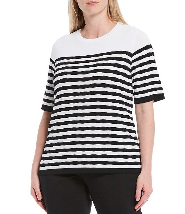 インベストメンツ レディース Tシャツ トップス Plus Size Signature Yarn Short Sleeve Crew Neck Stripe Top White/Black Stripe