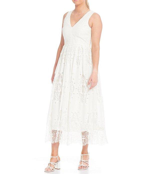 アントニオ メラーニ レディース ワンピース トップス Tammy Eyelet V-Neck Cotton A-Line Midi Dress Ivory