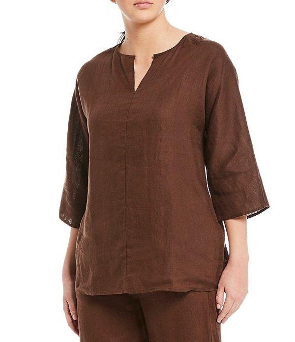 エイリーンフィッシャー レディース カットソー トップス Petite Size Organic Handkerchief Flax Linen Dolman Sleeve Tunic Cocoa