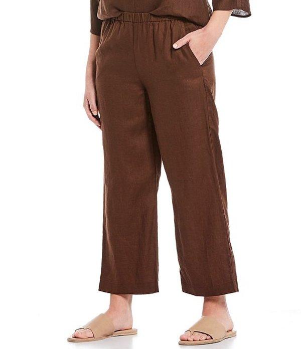 エイリーンフィッシャー レディース カジュアルパンツ ボトムス Petite Size Organic Linen Ankle Straight Leg Pant Cocoa