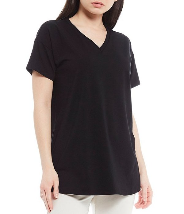 エイリーンフィッシャー レディース カットソー トップス Petite Size Organic Cotton Stretch Jersey V-Neck Drop Shoulder Tunic Black
