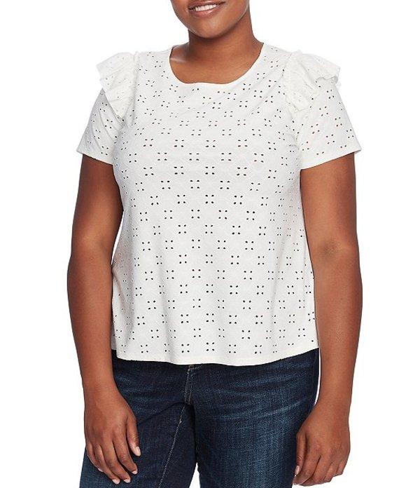 セセ レディース Tシャツ トップス Plus Size Ruffled Short Sleeve Eyelet Lace Knit Top Soft Ecru