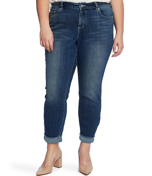 セセ レディース デニムパンツ ボトムス Plus Size Polka Dot Cuff Skinny Jeans True Blue