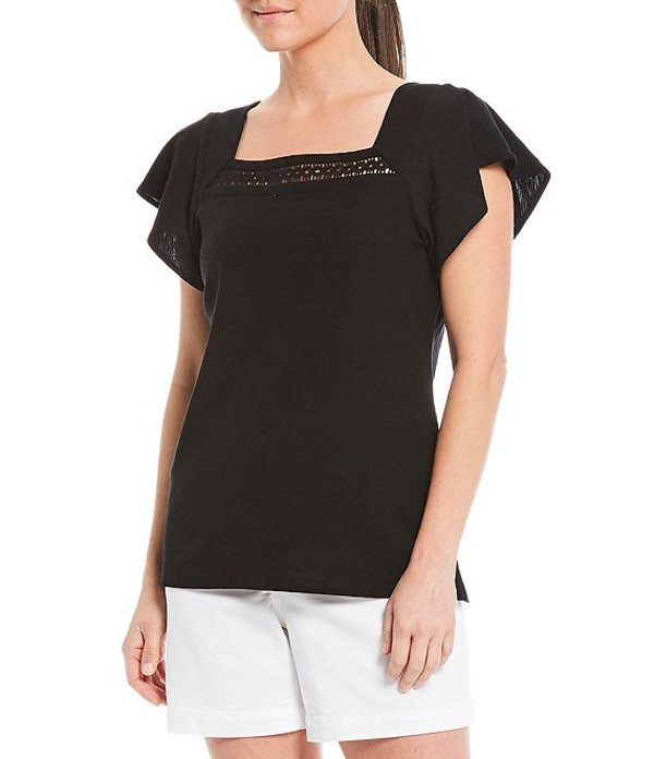 ウエストバウンド レディース Tシャツ トップス Petite Size Short Flutter Sleeve Square Neck Applique Trim Detail Cotton Blend Top Black