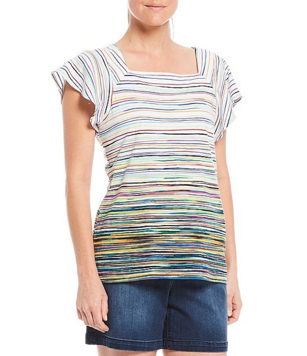 ウエストバウンド レディース Tシャツ トップス Petite Size Colorful Marker Stripe Short Sleeve Square Neck Cotton Blend Top Colorful Marker Stripe
