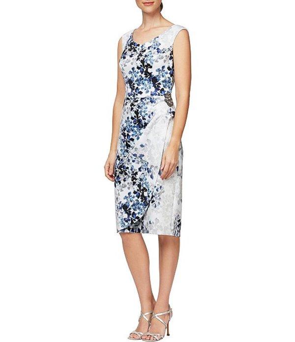 アレックスイブニングス レディース ワンピース トップス Floral Print Stretch Crepe Sleeveless Waist Embellishment Detail Sheath Dress Ivory Multi
