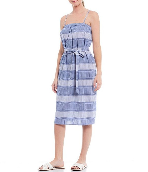 ジャンビニ レディース ワンピース トップス Opal Square Neck Tie Waist Striped Trapeze Cotton Blend Dress Ivory/Cobalt