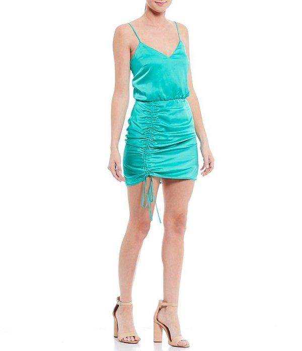 ジャンビニ レディース ワンピース トップス Tati V-Neck Ruched Lace-up Mini Dress Turquoise