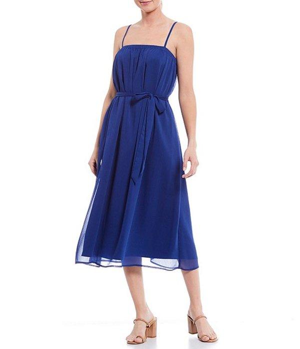 ジャンビニ レディース ワンピース トップス June Square Neck Sleeveless Tie Waist Chiffon Midi Dress Cobalt