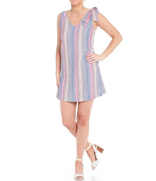 ダニエル クレミュ レディース ワンピース トップス Ava Striped Shoulder Bow Detail Sleeveless Linen Shift Dress Chambray Blue/Pink